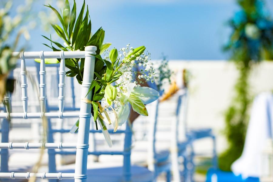 Decoración floral para celebración de boda civil